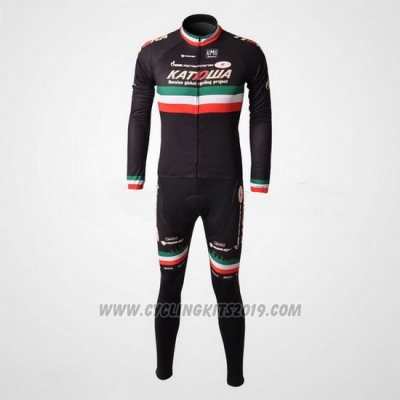 2010 Cycling Jersey Katusha Black Long Sleeve and Bib Tight