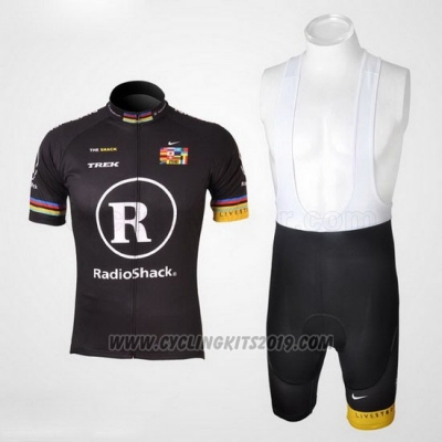 2010 Cycling Jersey Radioshack Black and Yellow Short Sleeve and Bib Short