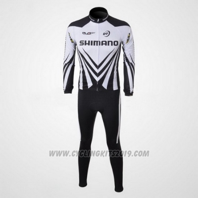 2010 Cycling Jersey Shimano White and Black Long Sleeve and Bib Tight