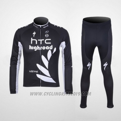 2011 Cycling Jersey HTC Highroad Black and White Long Sleeve and Bib Tight