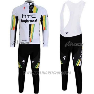 2011 Cycling Jersey HTC Highroad White Long Sleeve and Bib Tight