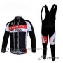 2011 Cycling Jersey Kuota Black and White Long Sleeve and Bib Tight