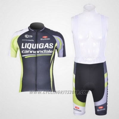 2011 Cycling Jersey Liquigas Cannondale Black and Green Short Sleeve and Bib Short