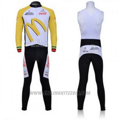 2011 Cycling Jersey McDonalds White and Yellow Long Sleeve and Bib Tight