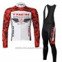2011 Cycling Jersey Trek Red and White Long Sleeve and Bib Tight