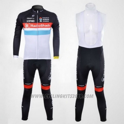 2012 Cycling Jersey Radioshack Black and White Long Sleeve and Bib Tight