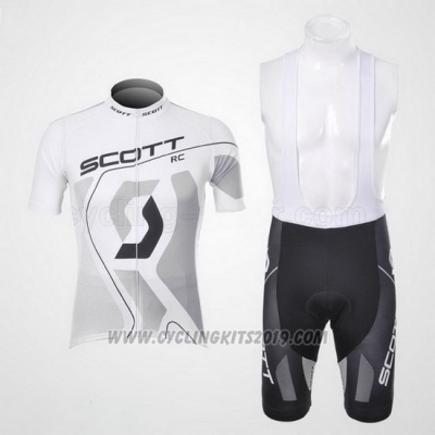 2012 Cycling Jersey Scott White and Gray Short Sleeve and Salopette