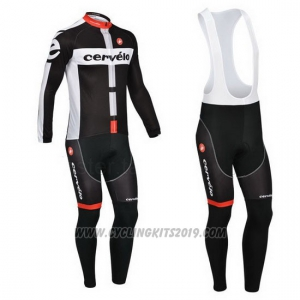 2013 Cycling Jersey Cervelo White and Black Long Sleeve and Bib Tight