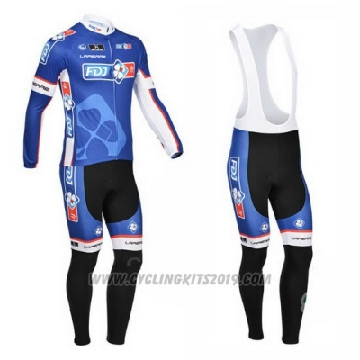 2013 Cycling Jersey FDJ Blue Long Sleeve and Bib Tight