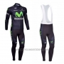 2013 Cycling Jersey Movistar Black Long Sleeve and Bib Tight