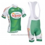 2013 Cycling Jersey Sojasun White and Green Short Sleeve and Bib Short