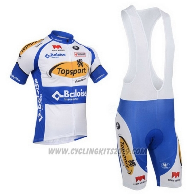 2013 Cycling Jersey Topsport White and Sky Blue Short Sleeve and Bib Short