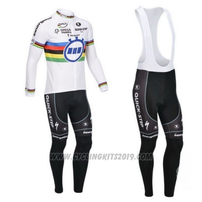 2013 Cycling Jersey UCI Mondo Campione Lider Quick Step Long Sleeve and Bib Tight