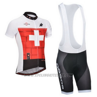 2014 Cycling Jersey Assos White and Red Short Sleeve and Bib Short
