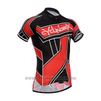 2014 Cycling Jersey Fox Cyclingbox Red and Black Short Sleeve and Bib Short