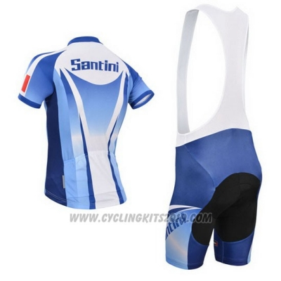 2014 Cycling Jersey Santini Light Blue and White Short Sleeve and Bib Short