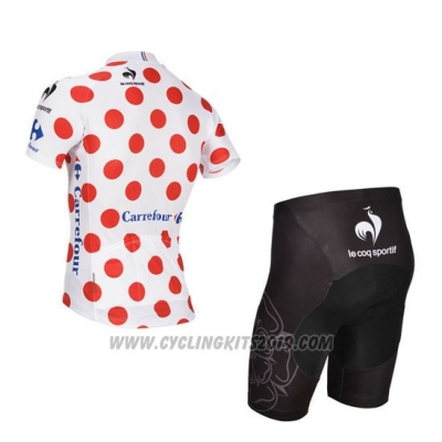 2014 Cycling Jersey Tour de France White and Red-3 Short Sleeve and Bib Short