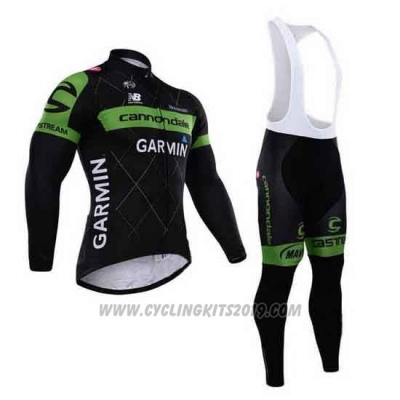 2015 Cycling Jersey Cannondale Green and Black Long Sleeve and Bib Tight
