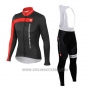 2015 Cycling Jersey Castelli 3t Black and Red Long Sleeve and Bib Tight