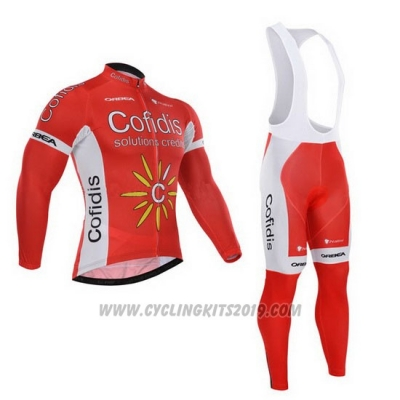 2015 Cycling Jersey Cofidis Red Long Sleeve and Bib Tight