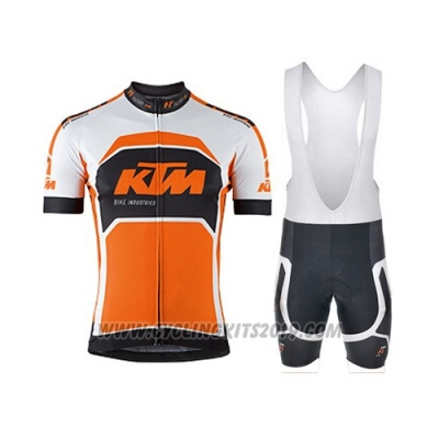 2015 Cycling Jersey Ktm White and Orange Short Sleeve and Salopette