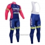 2015 Cycling Jersey Lampre Merida Pink and Blue Long Sleeve and Bib Tight
