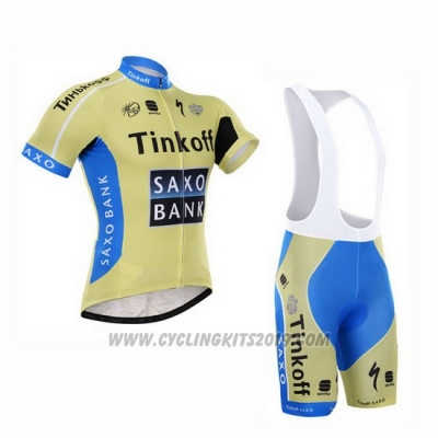 2015 Cycling Jersey Tinkoff Saxo Bank Sky Blue and Yellow Short Sleeve and Bib Short