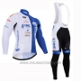 2015 Cycling Jersey UHC White and Sky Blue Long Sleeve and Bib Tight