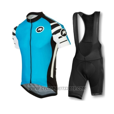 2016 Cycling Jersey Assos Black and Blue Short Sleeve and Bib Short