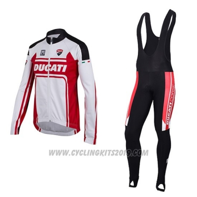 2016 Cycling Jersey Ducati White and Red Long Sleeve and Bib Tight