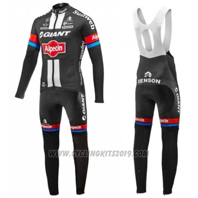 2016 Cycling Jersey Giant Alpecin Black and Red Long Sleeve and Bib Tight