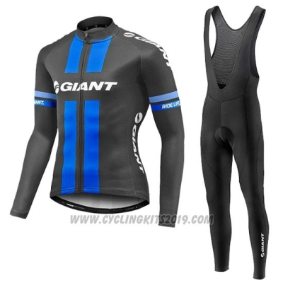 2016 Cycling Jersey Giant Black and Blue Long Sleeve and Bib Tight
