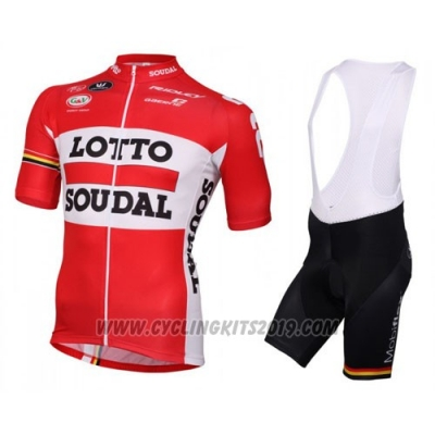 2016 Cycling Jersey Lotto Soudal White and Red Short Sleeve and Bib Short