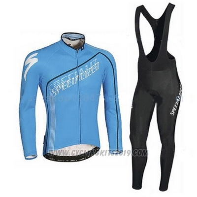2016 Cycling Jersey Specialized Black and Sky Blue Long Sleeve and Bib Tight