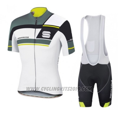 2016 Cycling Jersey Sportful White and Gray Short Sleeve and Bib Short