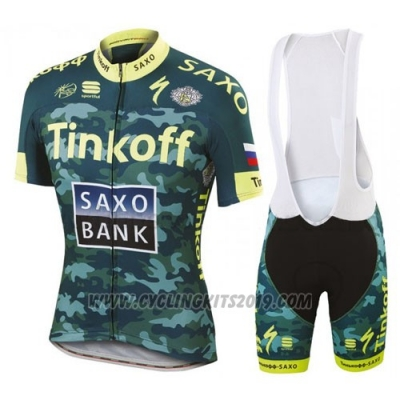 2016 Cycling Jersey Tinkoff Saxo Bank Yellow and Green Short Sleeve and Bib Short