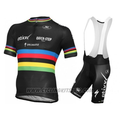 2016 Cycling Jersey UCI Mondo Campione Lider Quick Step Black Short Sleeve and Bib Short