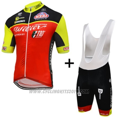 2016 Cycling Jersey Wieiev Black and Red Short Sleeve and Bib Short