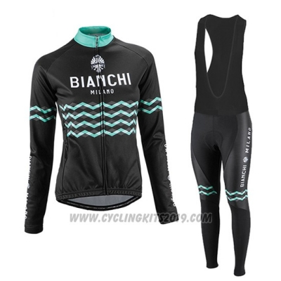 2016 Cycling Jersey Women Bianchi Black Long Sleeve and Bib Tight