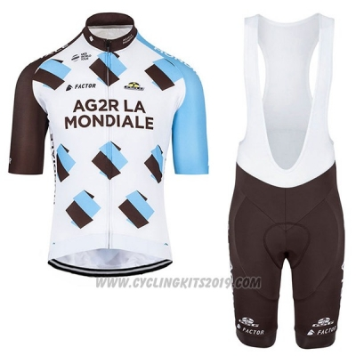 2017 Cycling Jersey Ag2r Marron and White Short Sleeve and Bib Short