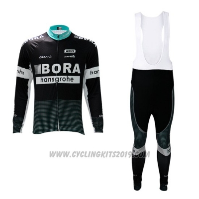 2017 Cycling Jersey Bora Black Long Sleeve and Bib Tight