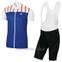 2017 Cycling Jersey Coq Sportif Tour de France Blue and White Short Sleeve and Bib Short