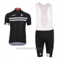2017 Cycling Jersey Felt Black and White Short Sleeve and Bib Short
