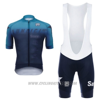 2017 Cycling Jersey Lundici Black and Blue Short Sleeve and Bib Short