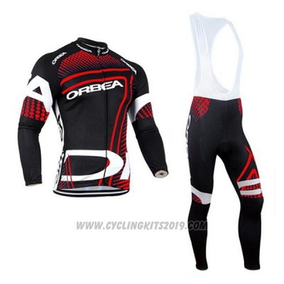 2017 Cycling Jersey Orbea Red and Black Long Sleeve and Bib Tight