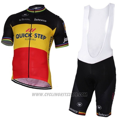 2017 Cycling Jersey Quick Step Floors Campione Belgium Short Sleeve and Bib Short