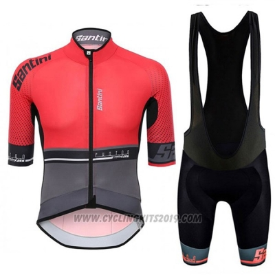 2017 Cycling Jersey Santini Photon Red and Gray Short Sleeve and Bib Short