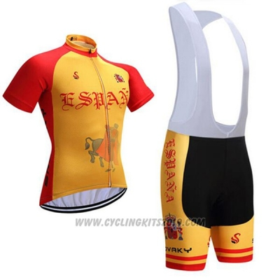 2017 Cycling Jersey Spain Red and Yellow Short Sleeve and Bib Short