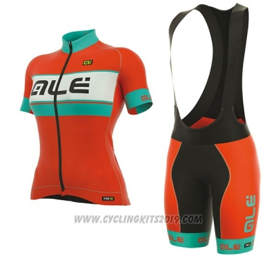 2017 Cycling Jersey Women ALE Graphics Prr Bermuda Light Blue and Orange Short Sleeve and Bib Short