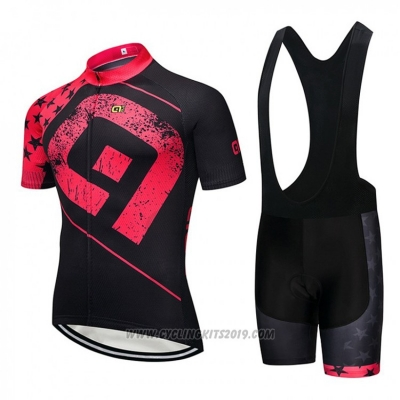 2018 Cycling Jersey ALE Black and Pink Short Sleeve and Bib Short